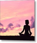 Yoga On Beach Metal Print