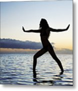 Yoga On The Coastline Metal Print