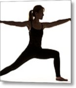 Yoga Pose Warrior II Metal Print