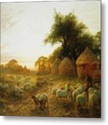 Yon Yellow Sunset Dying In The West Metal Print
