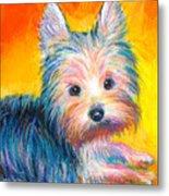 Yorkie Puppy Painting Print Metal Print