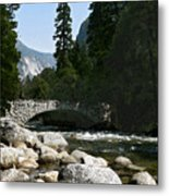 Yosemite Bridge Water Color Photograph Metal Print