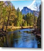 Yosemite Merced River With Half Dome Metal Print