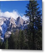 Yosemite Three Brothers In Winter Metal Print