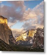 Yosemite Tunnel View Sunset In Winter Metal Print