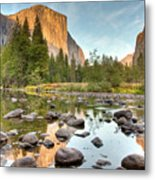 Yosemite Valley Reflected In Merced River Metal Print