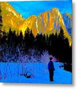 Yosemite Valley Winter Walk Metal Print