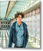 Young American College Student In New York Metal Print