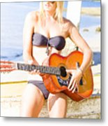 Young Attractive Blonde Woman Playing Guitar Metal Print
