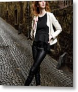 Young Attractive Woman Standing In The Wet Cobblestone Reber All Metal Print