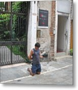 Young Begger Metal Print by Italian Art