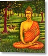 Young Buddha Meditating In The Forest Metal Print
