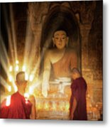 Young Buddhist Monk Are Reading With Sun Light Metal Print
