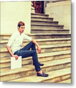 Young Businessman Sitting On Stairs, Relaxing Outside Metal Print