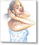Young Cameroun Woman Tying Her Hair Metal Print
