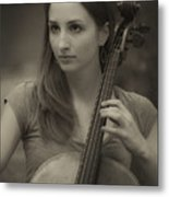 Young Cellist Metal Print