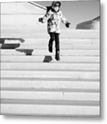 Young Child Jumping Down Steps Metal Print