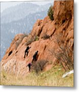 Young Climber In Red Rock Canyon Metal Print