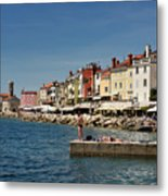 Young Couple Fishing Reading Sunbathing On Dock At Piran Sloveni Metal Print