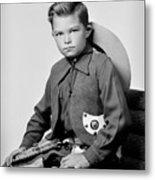 Young Cowboy Sitting Metal Print