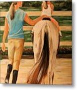 Young Equestrian Metal Print