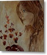 Young Girl And Flowers  Metal Print