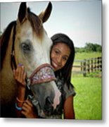 Young Girl And Her Horse Metal Print