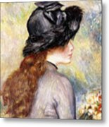 Young Girl Holding A Bouquet Of Tulips, Metal Print