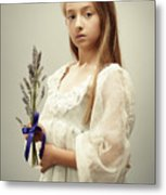 Young Girl Holding Lavender Metal Print