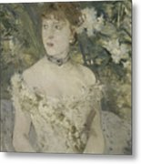 Young Girl In A Ball Gown By Berthe Morisot Metal Print