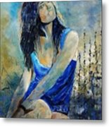 Young Girl In Blue Metal Print