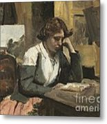 Young Girl Reading Metal Print