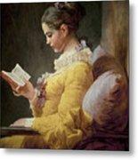 Young Girl Reading Metal Print