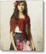 Young Girl With Blossoms Metal Print