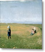 Young Girls Picking Flowers In A Meadow Metal Print