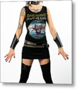 Young Heavy Metal Female Punk Fan Standing Tall With Horns Pierc Metal Print