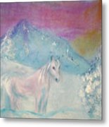 Young Horse On Snowy Mountain Metal Print