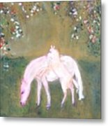 Young Horses In Spring Metal Print