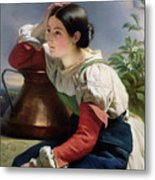 Young Italian At The Well Metal Print by Franz Xaver Winterhalter