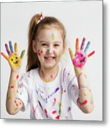 Young Kid Showing Her Colorful Hands Metal Print
