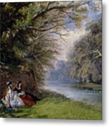 Young Ladies By A River Metal Print by John Edmund Buckley