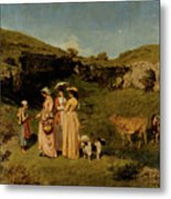 Young Ladies Of The Village By Gustave Courbet, 1851-1852 Metal Print