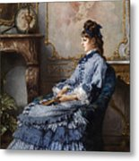 Young Lady At The Fireplace Metal Print