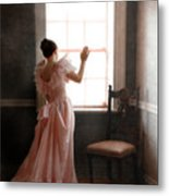 Young Lady In Pink Gown Looking Out Window Metal Print