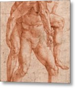Young Man Carrying An Old Man On His Back Metal Print