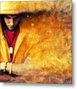 Young Man In Hooded Sweatshirt On Grunge Wall Metal Print