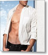 Young Man In Unbuttoned Shirt Metal Print