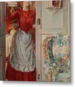 Young Man On A Door French Room, Emilio Metal Print