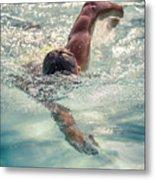 Young Man Swimming Metal Print