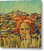 Young Man With A Corn Flower Metal Print